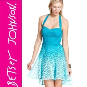 Betsey Johnson Turquoise Halter Eyelet Lace A Line